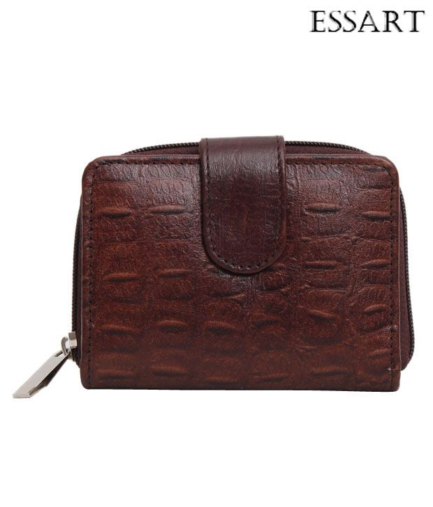 Essart Smart Brown Croc Embossed Wallet