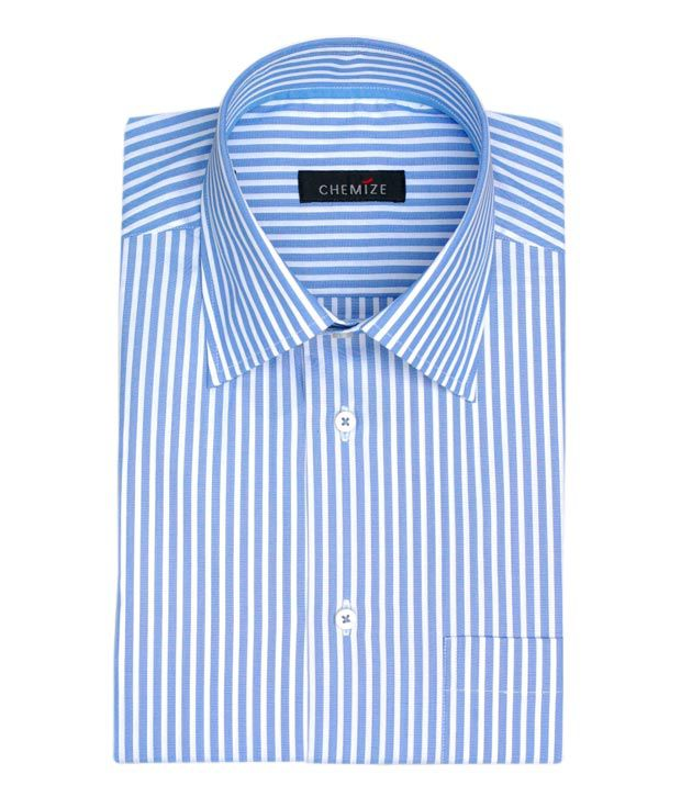 067d084ac5 Chemize Classic Blue & White Stripes Shirt - Buy Chemize Classic Blue & White  Stripes Shirt Online at Best Prices in India on Snapdeal