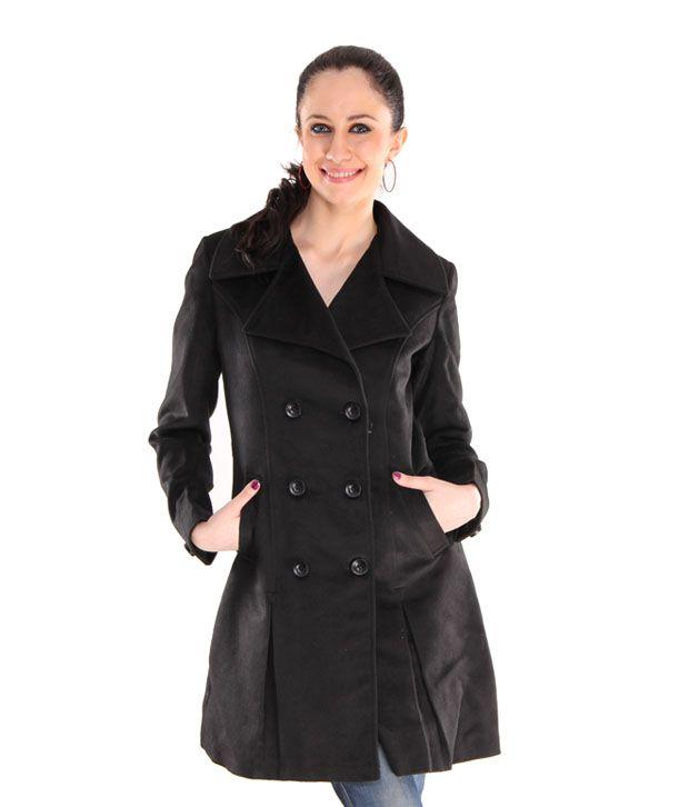 Hues Black Tweed Double Breasted Overcoat