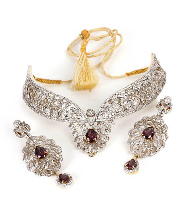 93c385c3d1694 Karishma Dazzling American Diamond Bridal Set