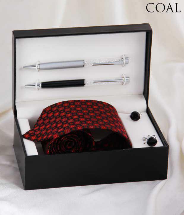 Coal Charming Combo Set Of Necktie, Cufflinks & Pens