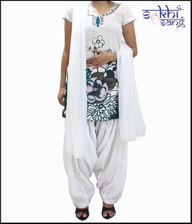 Sakhi Sang Attractive White Patiala Salwar With Dupatta