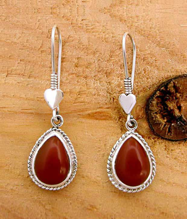 Designer Silver Red Onyx Studded Sterling Silver Earrings
