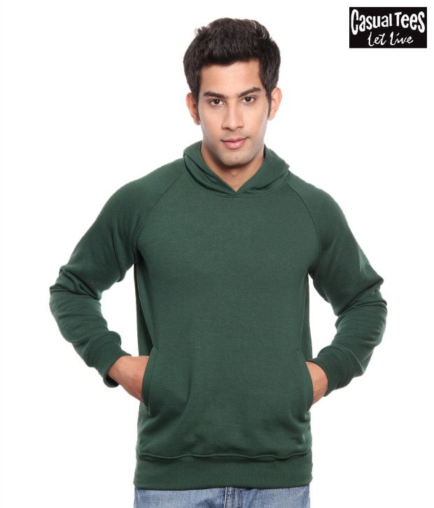 Casual Tees Green Hooded Sweatshirt With Free Lakshmi Ganesha
