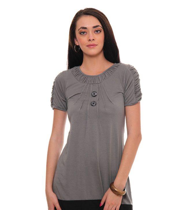 Sepia Gray Poly Cotton Tops
