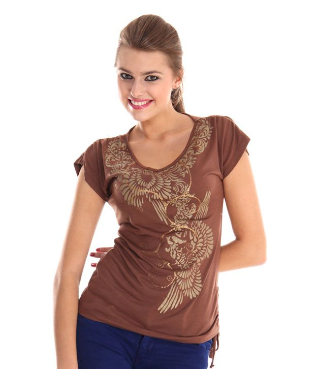 Sepia Brown Poly Cotton Tops