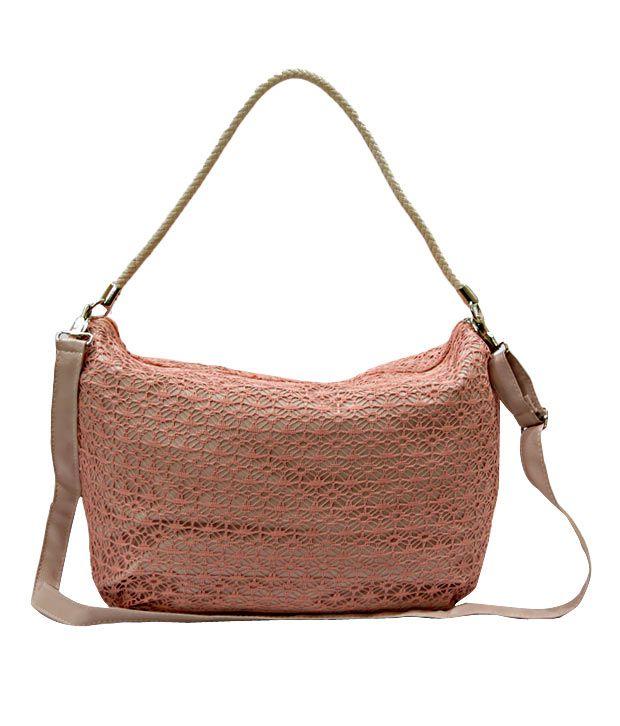 A-Progeny Radiant Pink Knitted Net Handbag
