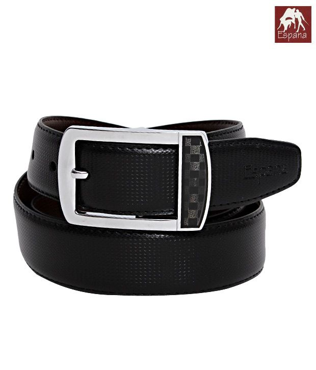 Espana Wonderful Black Zigzag Embossed Gents Belt