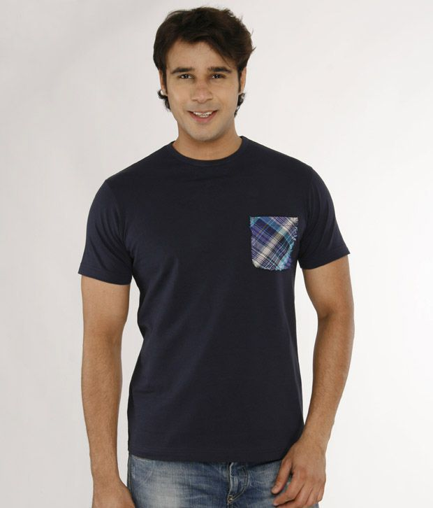 A for F Navy Cotton Lycra T-Shirt