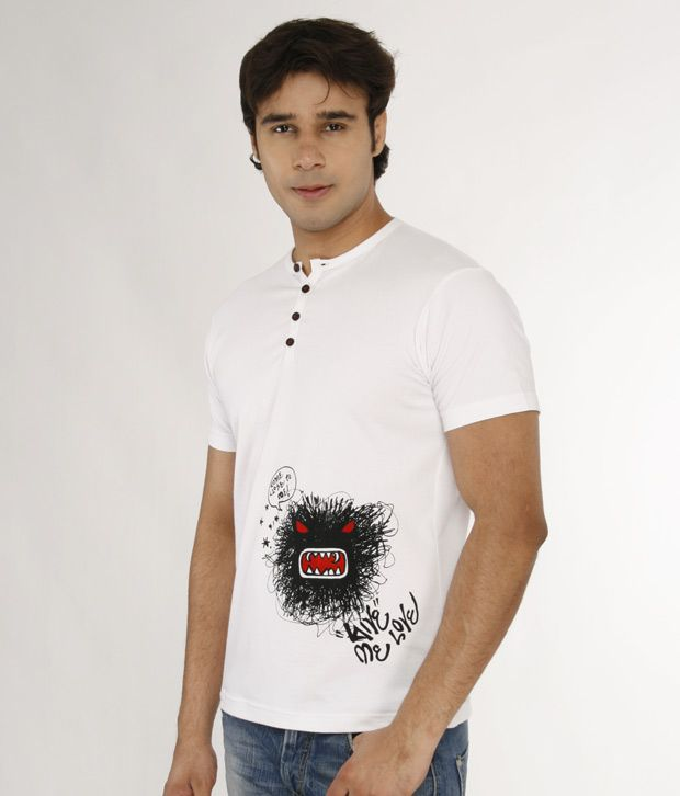 A for F White Henley Neck T-Shirt