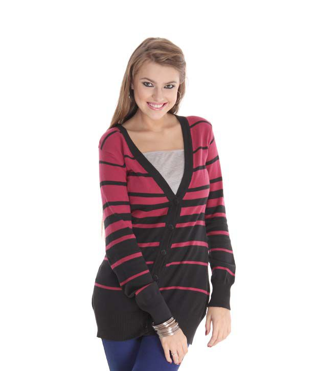 Latin Quarters Bewitching Fuchsia Pink-Black Long Cardigan