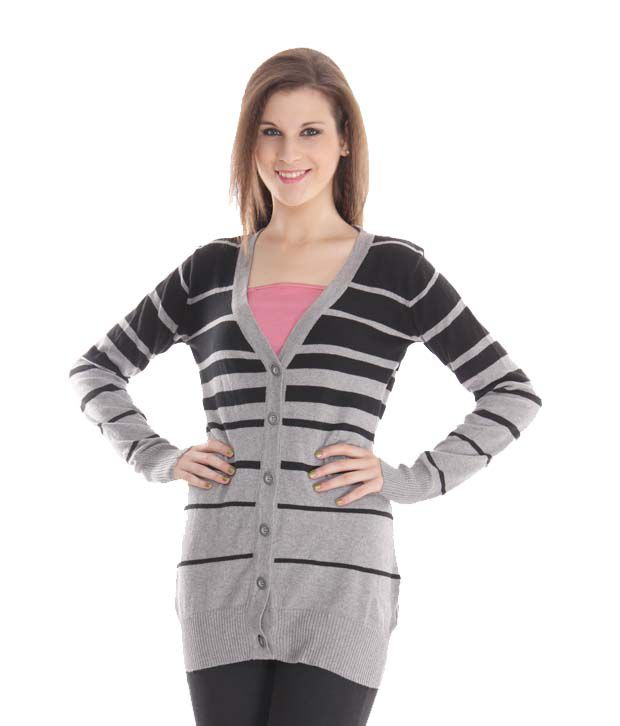 Latin Quarters Charming Grey-Black Long Cardigan