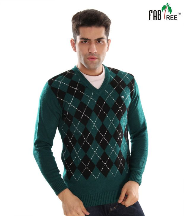 Fabtree Smart Green & Black Men's Sweater