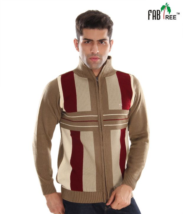 Fabtree Brown & Maroon Striped Men's Sweater