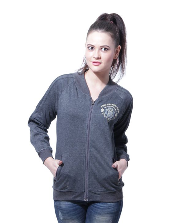 Fort Collins Dark Grey Zipper Hooded Sweatshirt