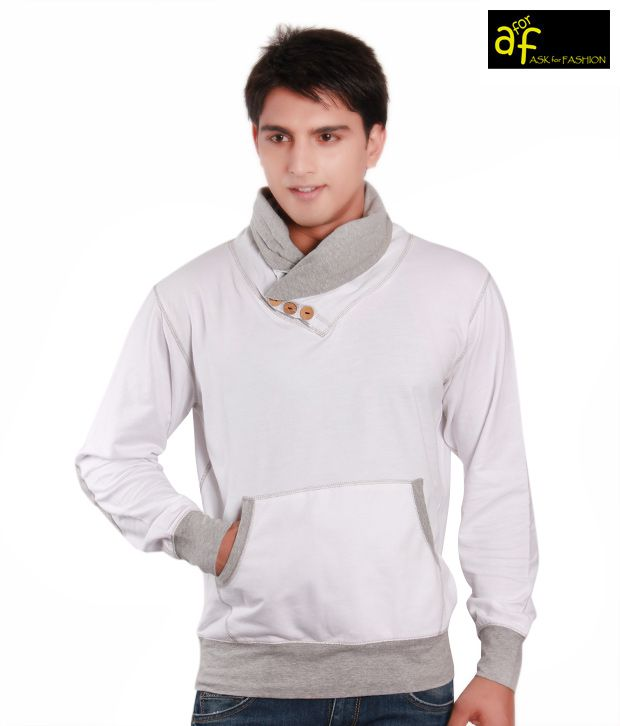 A for F White & Grey Men's Pullover