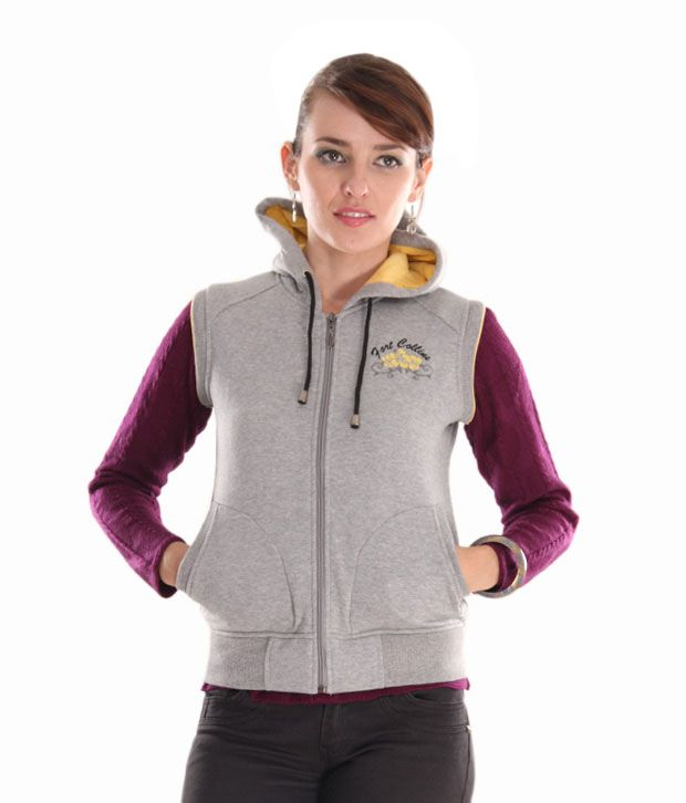 Fort Collins Light Grey Zipper Sleeveless Hooded  Sweatshirt