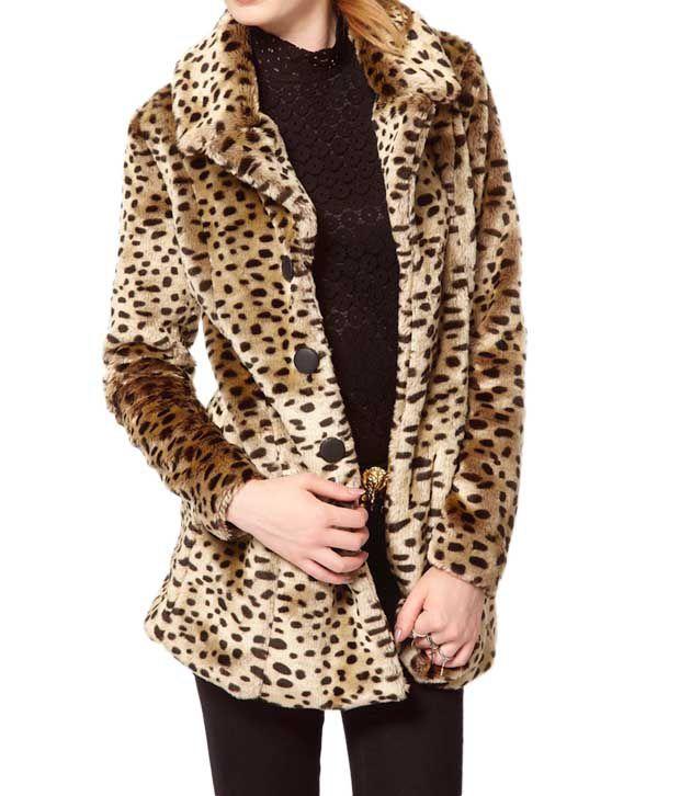 Lieben Mode Leopard Print Beige-Black Overcoat
