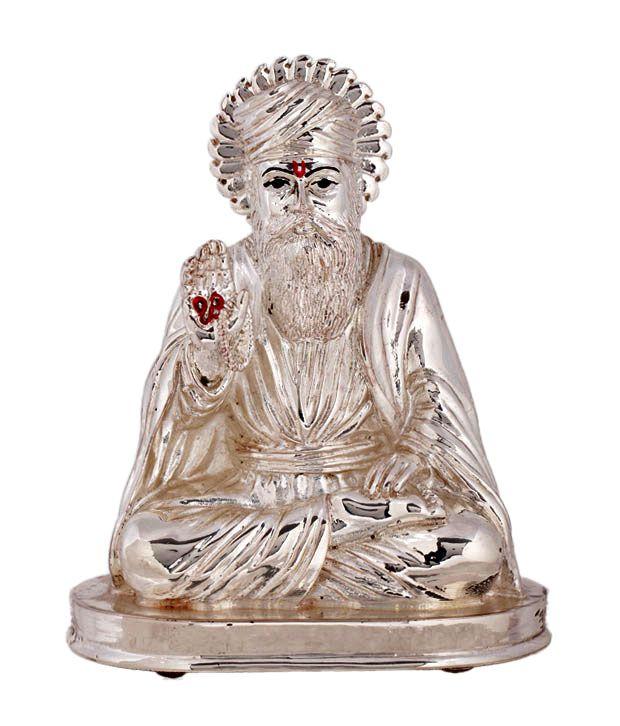 Shanti Sacred Guru Nanak Silver Coated Idol