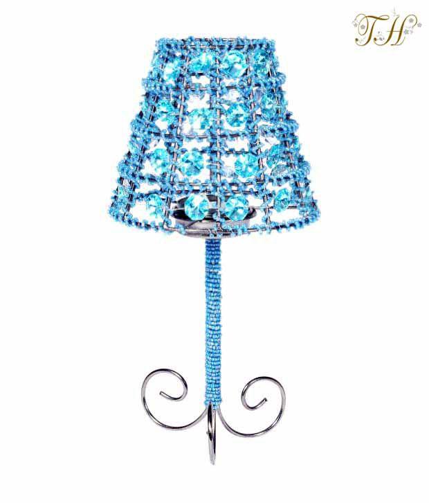 Treasure Hunt  Turquoise Crystal Beaded T-lite Lamp