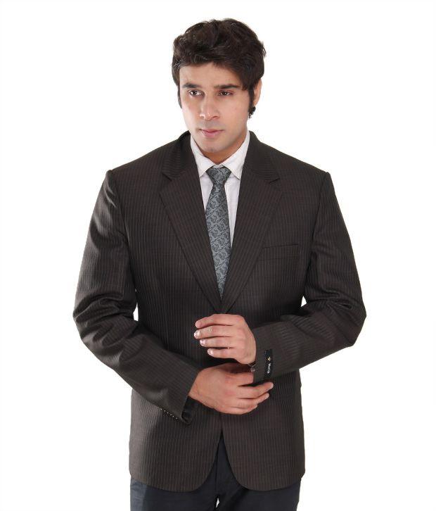 Westlife Smart Brown Striped Men's Blazer