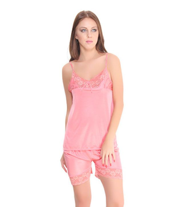 Fasense Peach Satin Nighty & Night Gowns Pack of 2