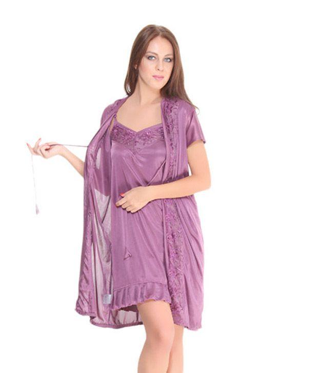Fa Sense Purple Short Nighty With Robe