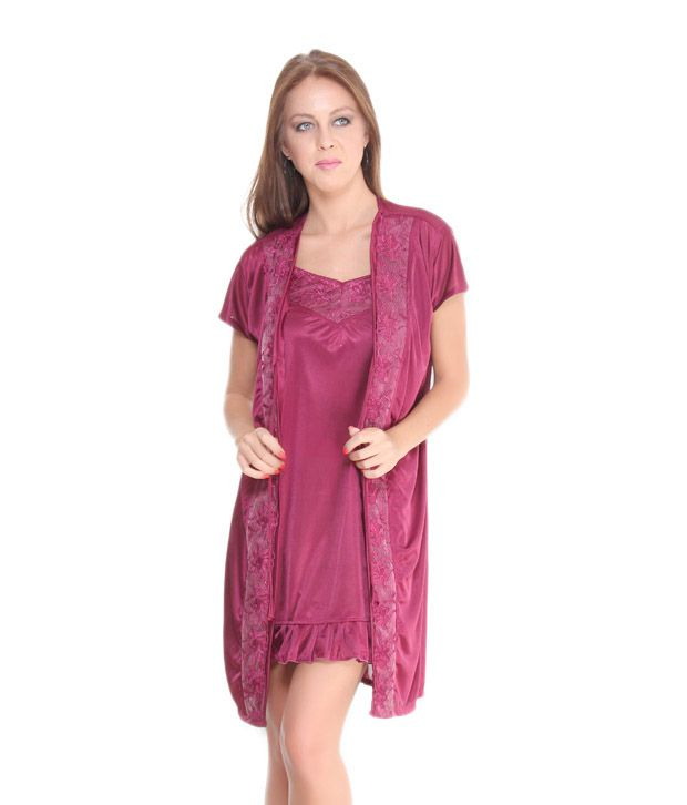 Fa Sense Burgundy Short Nighty With Robe