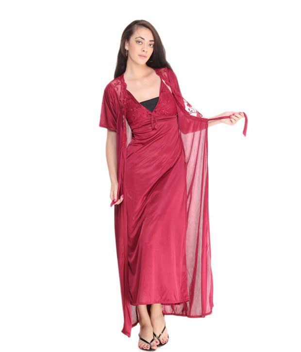 Fasense Maroon Satin Nightsuit Sets Pack of 2