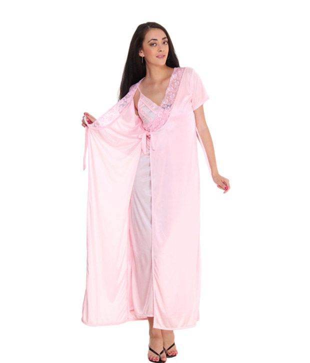 Fasense Pink Satin Nightsuit Sets Pack of 2