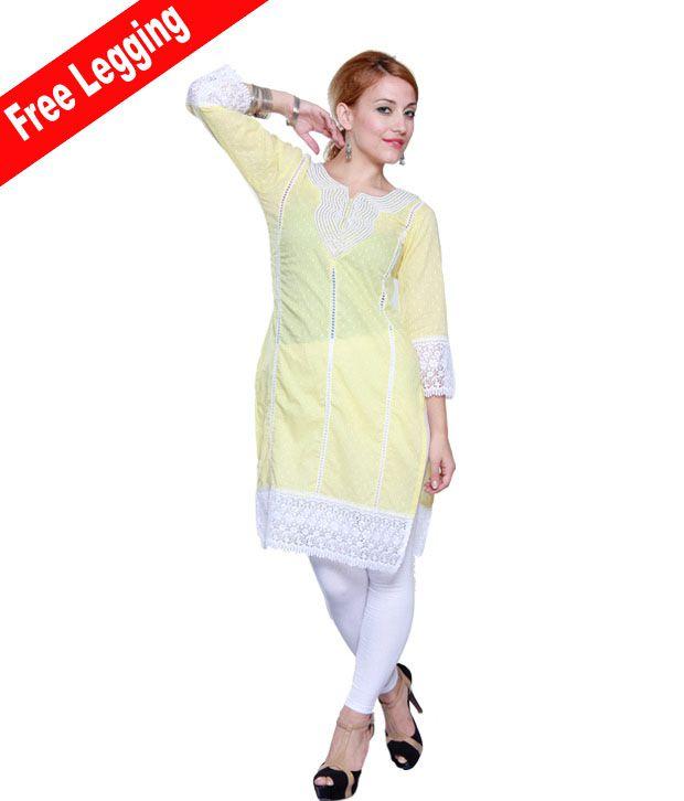 Anarkali Fashions Pearly Light Yellow Kurti