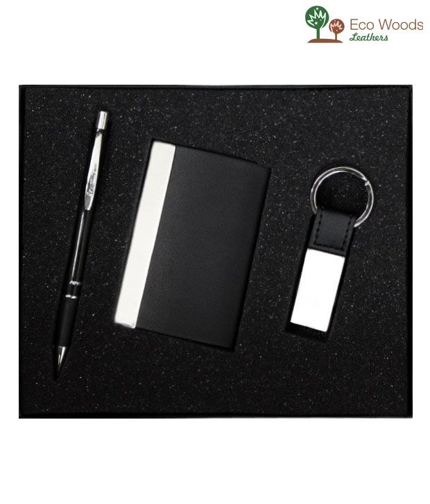 Eco Woods Leathers Card Holder with Key Belt and Pen (PI-613)