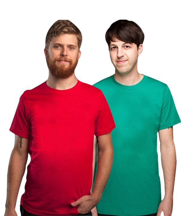 Loveusale Green-Red Pack of 2 Round Neck T shirts