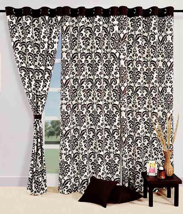 Swayam Brown & White Floral Print Curtain