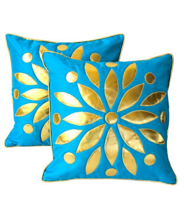 Dekor World Set of 2 Turquoise Floral Cushion Covers (16x16 inches)