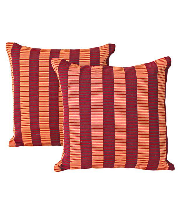 Dekor World Set of 2 Cushion Covers With Maroon & Rust Stripes (16x16 inches)