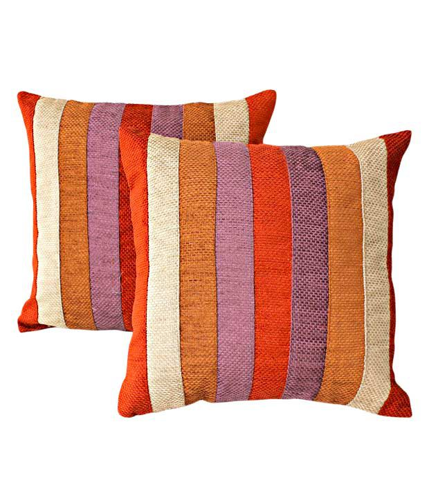 Dekor World Set of 2 Multi-colour Striped Cushion Covers (16x16 inches)