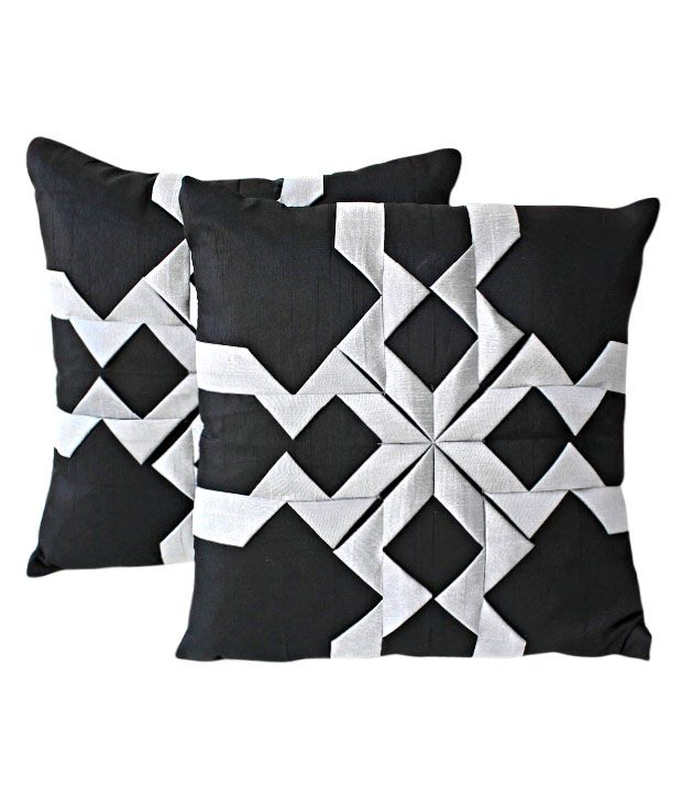 Dekor World Set of 2 Black Cushion Covers With Abstract Pattern (16x16 inches)