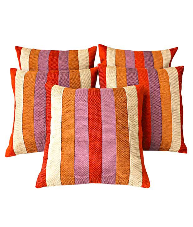 Dekor World Cushion Covers With Multi-colour Stripes- Set of 5 (16x16 inches)