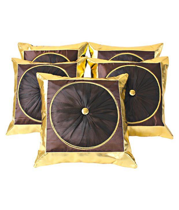 Dekor World Brown Cushion Covers With Circular Design- 5 Pcs