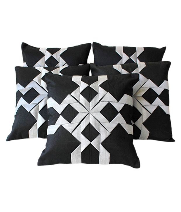 Dekor World Black Cushion Covers With Abstract Design- 5 Pcs (16x16 inches)