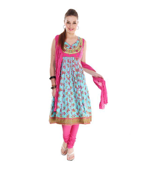 G Sky Blue-Pink Cotton Anarkali Suit With Dupatta