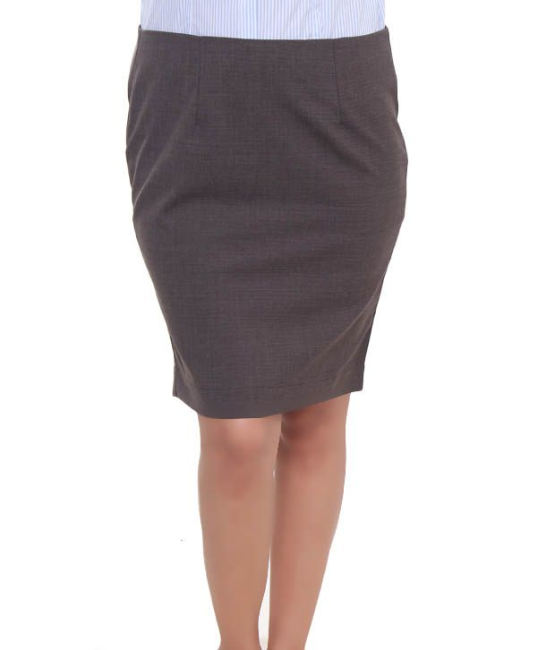 Bombay High Brown Cotton Lycra Formal Skirt