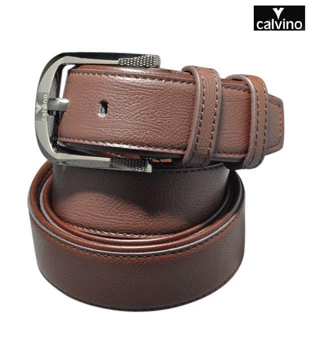 Calvino Brown Textured Formal Belt