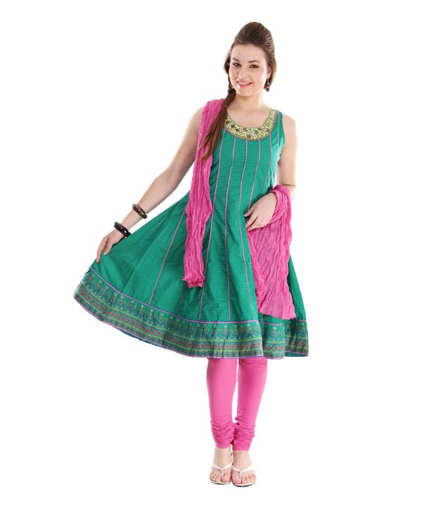 G Aqua Green-Pink Cotton Anarkali Suit With Dupatta