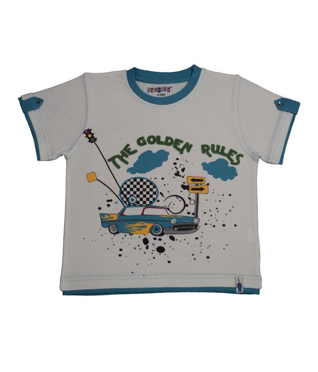 JasfishRockStarWhite-BlueT-Shirt For Kids