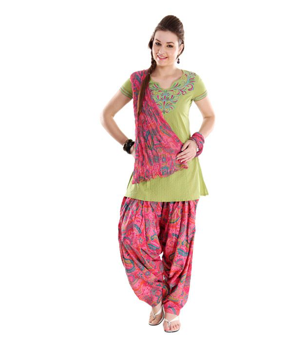 G Printed Pink Patiala Salwar With Dupatta