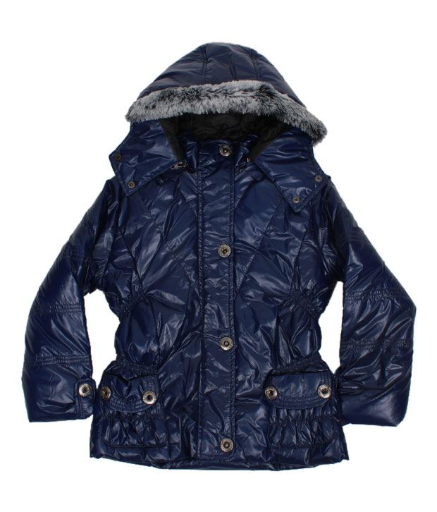Fort Collins Navy Blue Fur Hood Jacket For Kids