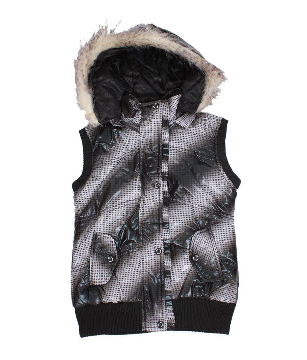 Fort Collins Black & Silver Hooded Jacket For Kids