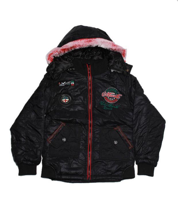 Fort Collins Black & Red Hooded Jacket For Kids